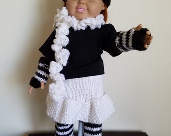 Black and White knit Set for 18 inch dolls, Hat, Armwarmers, Legwarmers, Skirt and Scarf