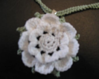 White Flower Pendant Necklace