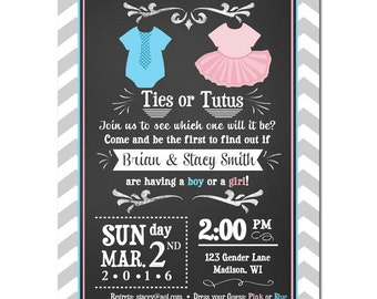 Ties or Tutus Gender Reveal Invitation Printable or Printed With FREE SHIPPING - Gender Reveal - Ties or Tutus Collection