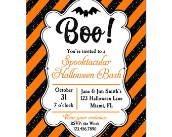 Halloween Invitation Printable or Printed with FREE SHIPPING- ANY Wording - Halloween Glitter Stripe