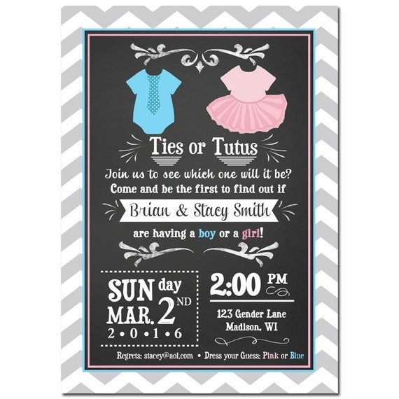 Ties or Tutus Gender Reveal Invitation Printable or Printed With