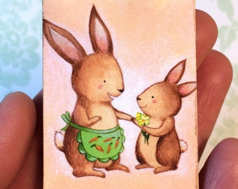 Rabbit Mother and Child Magnet by Megumi Lemons
