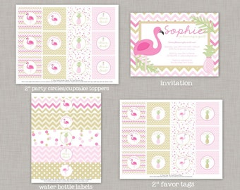 Flamingo Baby Shower, Flamingo Shower, Girl Baby Shower, Tropical, Pink and Gold
