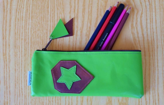 Leather pencil case, leather pencilcase, leather pouch, green leather, green pencil case, leather case,leather brown,stars pencil case