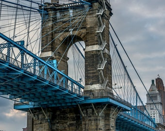 Roebling Suspension Bridge - Fine Art Photo, Wall Decor, Cincinnati Photo, Cincinnati Print, Landscape, Roebling Photo