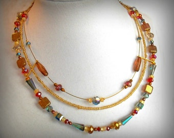 Carnival of Venice Necklace --Swarovski Crystals in Red, Amber, Blue, and Gold