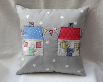 Cushion cover Country Cottages with Union Jack bunting. Hand made. 40cm x 40cm