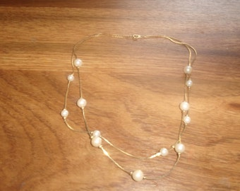 vintage necklace double strand goldtone chain faux pearls