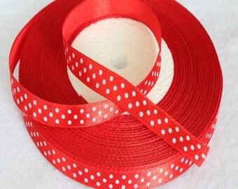 "Red Satin Polka Dot Ribbon-3/8""-10 YDS"