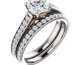 Rose Gold Diamond Engagement Ring 14k White & Rose Gold Diamond Vintage Engagement Ring Matching Wedding Band Set Art Deco Filigree Victoian