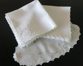 10 Napkins White Linen Madeira Embroidery Matching Tray Cover Doily 72b