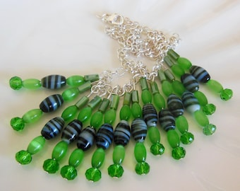 Green on Silver handmade necklace  796