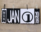 Black and White Perpetual Calendar Freestanding Flip Style