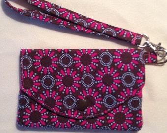 Pink & Brown Floral Fabric Wallet / Wristlet / Clutch