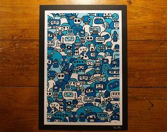 Robot Mob - Blue - A4 Print - Urban Graffiti Art - Cute Ltd Edition, Numbered Kawii Prints