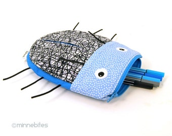 Beetle Bag by MinneBites / Blue Bug Pouch - Handmade Boys Pencil Case - Kids Toiletry Kit - Toy Bag - Back to School Pouch - Blue Bug Purse