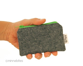 Men's Mini Green Zip Pouch by MinneBites / Extra Small Credit Card Case - Gray Unisex Business Card Holder - Key Coin Wallet - Ready to Ship