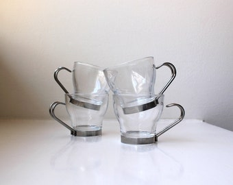 Vintage Italian Modern Glass Espresso Set 4 Chrome Holders Vitrosax ITALY