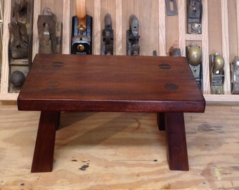 wood footstool, wooden step stool, solid wood stool with tapered legs