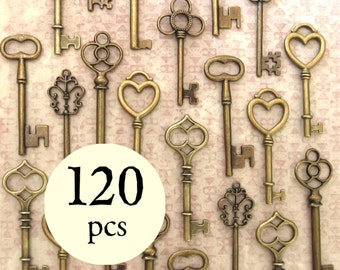 The Ultimate Wedding  Collection - 120 Skeleton Keys in Antique Bronze - 6 Key Styles - Perfect for Wedding Favors and More