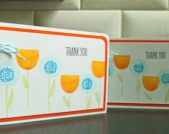 Modern Floral Thank You Cards Set of 2, Scandinavian Print Thank You Notes Set, Spring Thank You Cards, Summer Cards, Modern Flower