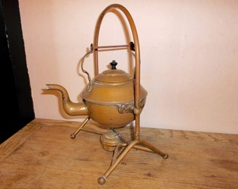 Antique Brass and Copper Tea Pot and Bunsen Burner and Tilt Stand Military Camp Kettle