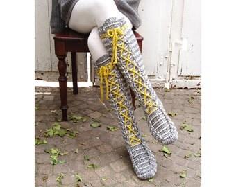 Knee-High Laced Socks Crochet Pattern - Instant Download