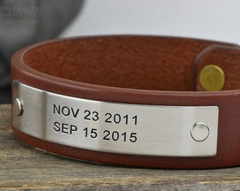 Personalized Mens Leather Bracelet - Anniversary Gift For Men - Custom Leather Cuff ID Bracelet
