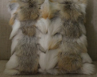 Real Genuine  Fox  Fur Pillow Golden Island sections authentic fur cushion new  made in usa