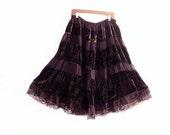 Plus Size Bohemian Brown Velvet Skirt