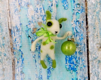 Terrier Chihuahua Puppy Dog Feather Tree Ornament Wool Needle felted Vintage German Style silk ribbon bell OOAK - Little Gabe