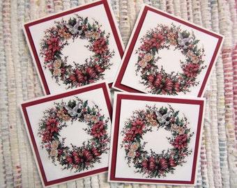 Christmas Wreath Mini Cards  Set of 4