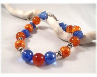 Blue and Orange Bracelet, Glass and Stone