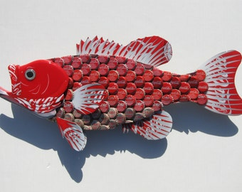 Metal Bottle Cap Fish Wall Coca Cola Wall Art - Red Coke Bottlecap Large Mouth Bass