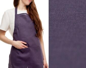Full apron Violet linen apron SALE