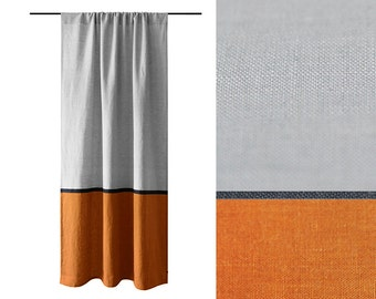 Curtain panels, Color block curtains, rust and dove grey curtains Linen drapery panel, bedroom curtains, living room curtain, orange curtain