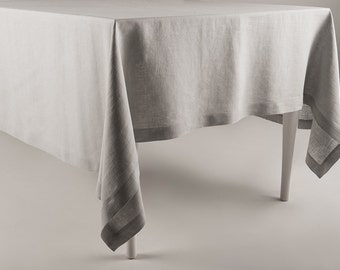 Linen tablecloth Soft dove grey pure linen classic table linen collection Deep hem Mitered corners Custom length rectangle  tablecloths