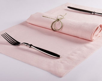 Dusty rose table napkins and placemats Light pink Ballet slipper color napkin or place mat set of Six