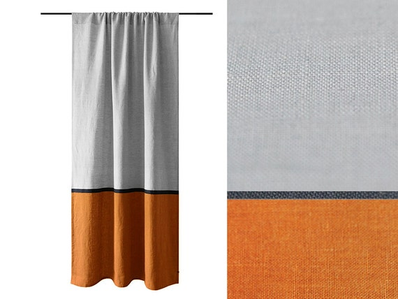 curtain panels color block curtains rust and dove grey curtains linen drapery panel - Rust Color Curtains