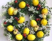 Spring Wreath, Lemon Wreath, Fruit Wreath, Easter Wreath, Valentine Wreath, Summer Wreath, Mother's Day Wreath, Bumble Bee Wreath