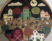Halloween Folk Art Painting, Hand Painted Folk Art Wood Basket, Saltbox Houses, Witches, Pumpkins, Ghosts, Black Cats, Spooky Country Scene
