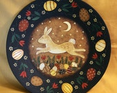 Spring Folk Art Painting Wood Plate - MADE TO ORDER - Easter Bunny Leaping Over Primitive Style Eggs, Tulips, in Moonlight, Red, Yellow, Tan
