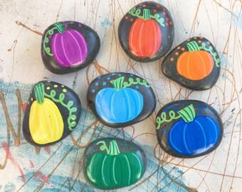 Pumpkin Color Stones / Teaching Rocks/ RoyGBiv/ Story Stones/ handpainted/ Montessori tool/ Nature/ children activity