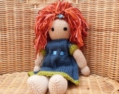 This doll is a private listing and RESERVED FOR ANGELINA Handmade Hand Knitted Doll Red Hair. Soft Wool Doll Traditional Doll.