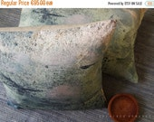 "ON SALE Woodland pillow. Linen square Pillowcase 18""x18"".  Earth colours.. Tree perched /  FRAGMENTS. Natural decor"