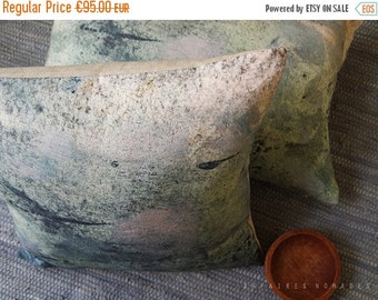 """ON SALE Woodland pillow. Linen square Pillowcase 18""""x18"""".  Earth colours.. Tree perched /  FRAGMENTS. Natural decor"""