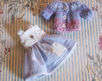 Ooak Custom Fairyland Littlefee YoSD 1/6 BJD Doll Dress Sweater Cardigan Outfit Lavender Blue Pink White Vintage Lace