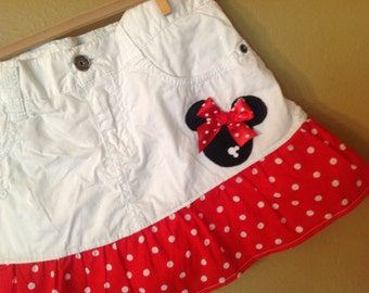 Minnie Mouse skirt -girls 10 only -  upcycled  -refab - Disney Vacation- Ready to Ship