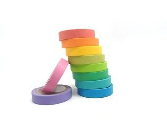 Pastel Washi Tape, Thin Washi Tape, Colorful Washi Tape Set of 10