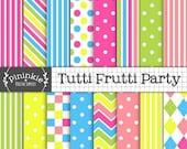 80% OFF SALE Bright Digital Paper, Tutti Frutti Digital Scrapbook Paper, Candy Stripe Digital Background Paper, Blue Polka Dots,Hot Pink,Ins